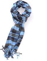 Blauw met grijze viscose sjaal met ruit patroon - Zachte nette shawl voor heren