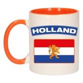 1x Holland vlag beker / mok - oranje met wit - 300 ml keramiek - oranje bekers