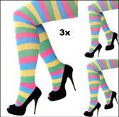 3x Panty strepen multicolour one size