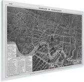 Een historische zwart witte stadskaart van het Nederlandse Haarlem Plexiglas - Plattegrond 30x20 cm - klein - Foto print op Glas (Plexiglas wanddecoratie)