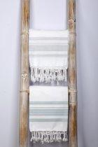 Hamamdoek 180x100 cm wit/grijs