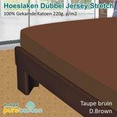 Homéé - Hoeslaken Double dik jersey stretch 210g. p/m2 100% katoen - Taupe (Bruin) - 90/100x200 +30cm