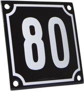 Emaille huisnummer zwart/wit nr. 80 10x10cm