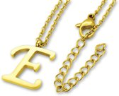 Amanto Ketting E Gold - Unisex - 316L Staal PVD - Letter - 18x14mm - 50cm