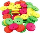Houten knopen, d: 25 mm, kleuren assorti, 2 gaten, 80 assorti