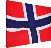 Close-up van de vlag van Noorwegen Canvas 90x60 cm - Foto print op Canvas schilderij (Wanddecoratie woonkamer / slaapkamer)