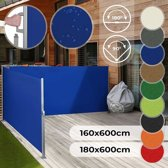 Zonne- windscherm 160 x 600 cm dubbel blauw