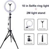 "Ringlamp 10"" inclusief statief 70-200 cm - 10 inch (26 cm) LED ringlamp voor Youtube vloggen, game streamen, TikTok, make-up en (professionele) fotografie"