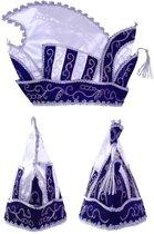 Prinsenmuts blauw/wit mt 63