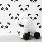 Fabs World - panda - zwart-wit - vliesbehang voor in de kinderkamer