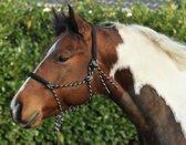 Knoophalster, gevoerd rond neus en oren zwart/beige Pony