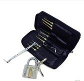 Lockpick Set Voor Beginners En Gevorderden met Luxe Lederen Hoes - Lock pick set - Lockpicker - 24 Delig - Zwart 2020