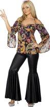 Hippie kostuum dames maat 44-46 - Flower Power Shirt plus broek met wijde pijpen