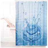 relaxdays douchegordijn waterdruppels 180 x 180 cm - anti-schimmel badkamer gordijn - bad