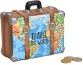 Spaarpot vakantie koffer met wereldkaart - Travel the world