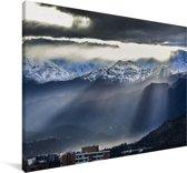 Zonnestralen door de wolken schijnen over Santiago in Chili Canvas 60x40 cm - Foto print op Canvas schilderij (Wanddecoratie woonkamer / slaapkamer)