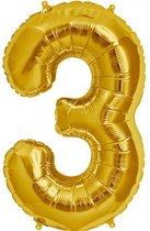 Cijfer 3 Goud lucht 41cm