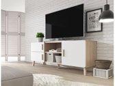 Meubella - TV-Meubel Orlando - Wit - Licht eiken - 150 cm