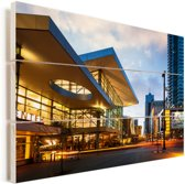 Het Convention Center van Denver in de Verenigde Staten Vurenhout met planken 60x40 cm - Foto print op Hout (Wanddecoratie)
