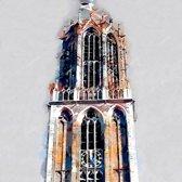 De Dom toren in Utrecht, Nederland in olieverf look | modern | Foto schilderij print op Canvas (canvas wanddecoratie) | 80x80cm