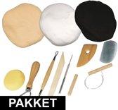 Klei attributen pakket met basis kleuren wit/zwart/huidskleur