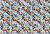 Fotobehang Vlies | Bloemen | Blauw, Geel | 368x254cm (bxh)