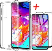 Samsung Galaxy A70 Hoesje + Screenprotector Full Screen - Transparant Shockproof Case - iCall