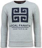Local Fanatic Greek Border - Leuke Sweater Mannen - 6350G - Grijs - Maten: XL