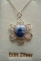 Souvenir Collier 42 cm - Zilver met Delftsblauw steentje 12 mm