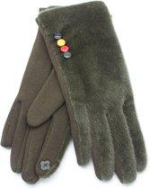 Fluffy Handschoenen - Dames - Groen - Dielay