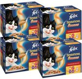 FELIX Sensations Saus Vlees - 48-pack -  Kattenvoer - 4 x (12 x 100) gr