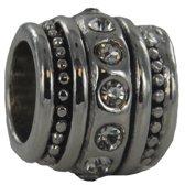 Quiges - Verzilverde Aanschuif Charm Bedel Kristal Zirkonia Barrel voor Quiges Wikkelarmbanden - EHC077