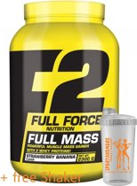 F2 Full Force Nutrition - Full Mass - Krachtige Muscle Mass Gainer met 2 Whey-Eiwitten! - 2300 g poeder - 46 porties - Ananas-Vanille - Pineapple-Vanilla + Sportandmore shaker