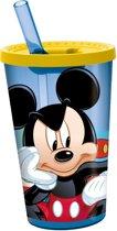 Stor Drinkbeker Met Rietje Mickey Mouse Geel/blauw 450 Ml