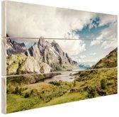 Berggebied Hout 60x40 cm - Foto print op Hout (Wanddecoratie)