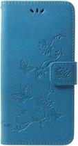 Shop4 - Samsung Galaxy S9 Plus Hoesje - Wallet Case Vlinder Patroon Blauw