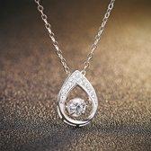 Fate Jewellery ketting FJ470 - Teardrop - 925 Zilver met Zirkonia kristal - 45cm