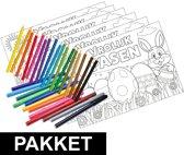 12 Pasen kleurplaten placemats pakket met stiften en potloden