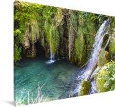 Waterval in het Nationaal park Plitvicemeren in Kroatië Canvas 180x120 cm - Foto print op Canvas schilderij (Wanddecoratie woonkamer / slaapkamer) XXL / Groot formaat!