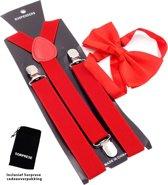 Bretels inclusief vlinderdas - Rood - Sorprese - met stevige clip - bretels - vlinderdas - strik – strikje - luxe - heren - unisex - giftset