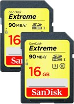 Sandisk, SDHC Extreme 16 GB 90MB/s Class 10 (Dubbelpak)