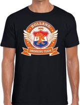 Zwart Holland drinking team t-shirt / t-shirt oranje accenten heren -  Nederland/supporter kleding 2XL