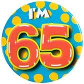 Verjaardags button I am 65