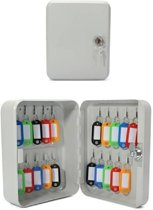 Sleutelbox / sleutelkastje met 20 haakjes - 16 x 7 x 20 cm - metaal sleutelkluisje