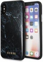 Guess Marmeren Backcover iPhone XS / X - Zwart