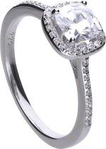 Diamonfire - Zilveren ring met steen Maat 18.5 - Vierkant - Rand zirkonia - Pav' bezet