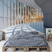 Fotobehang Tropical Beach 3D Modern Architecture View | V4 - 254cm x 184cm | 130gr/m2 Vlies