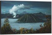 Dibond –Mist tussen de Bergen– 90x60 Foto op Aluminium (Wanddecoratie van metaal)