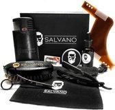 Salvano-Baard set-Baardverzorging set-Grooming kit-Barbershop set-Baard Olie-Baard Schaar-Scheer Mes-Dubbelzijdig Baard Kam-Baardbalsem-Baardborstel-Cadeau voor Mannen-Geschenk-Zwart
