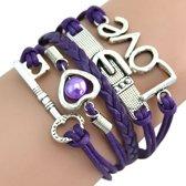 Fako Bijoux® - Multi Armband - Sleutel Hart Gesp Love - Paars